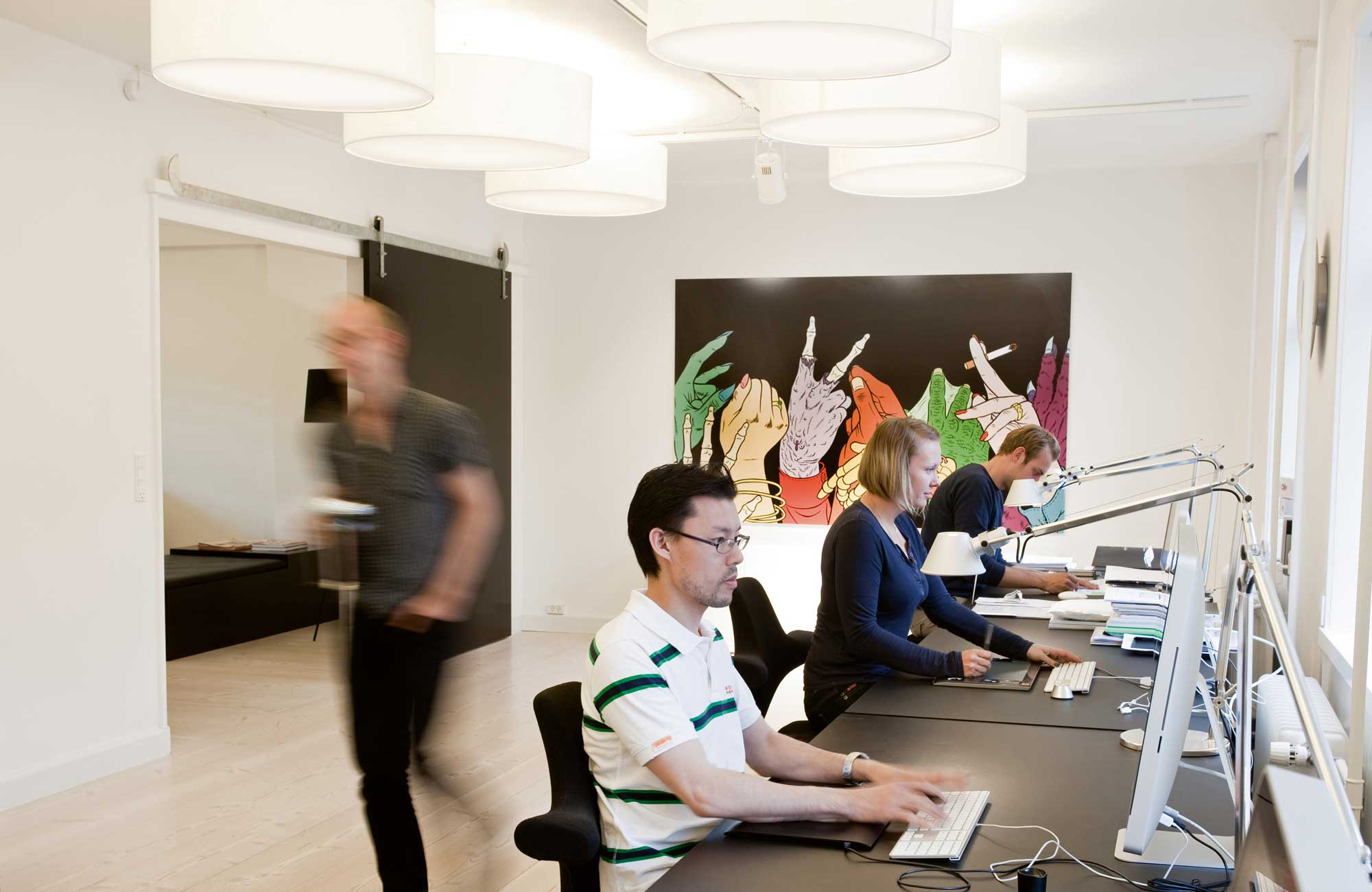 Embacco Lighting fab lamp in working environment at gubi Copenhagen